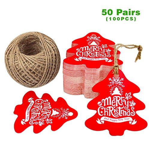 n Tags 100 Stück Geschenk Anhänger, 6 CM* 6.5 CM Hängeetiketten mit 30 Meter Jute-Schnur für Weihnachtsgeschenke, Handwerk etc - Weihnachtsbaum Geformt (Weihnachts-etiketten)