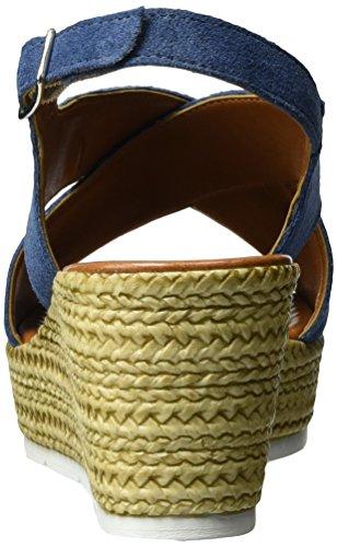Marco Tozzi Premio Damen 28362 Offene Sandalen mit Keilabsatz Blau (Denim 802)