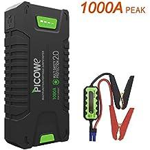 Arrancador de Coche ,Picowe 1000A Peak Amp Portátil Jump Starter Pack Completo Soporte TODO Vehículo Motor del Gas,hasta 8.0L Diesel, 20000mAh 12V Baterías de Coche Booster (T242)