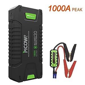 Picowe Arrancador de Vehículos Baterías, 20000mAh 12V 1000A en el Momento del Arranque, Valido para Todos los vehículos de Gasolina y hasta los Diesel de 8.0 Arrancador para Coche y Moto
