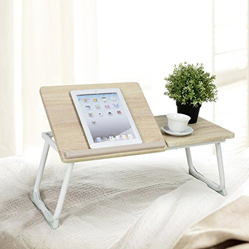 eHomeProducts Beech / White Laptop Notebook iPad Desk Stand Foldable Large Size Portable Adjustable Tilting Home and Office Lap Desk Bed Tray