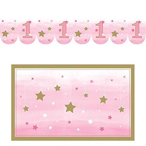 Baby-boden-matte Hochstuhl (Creative Converting, One Little star-girl, Hochstuhl-Set zum 1. Geburtstag)