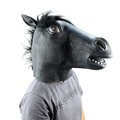 Keysui Pferdemaske für Halloween Maske latex Tiermaske Pferdekopf Pferd (Kostüm Dämon Pferd)