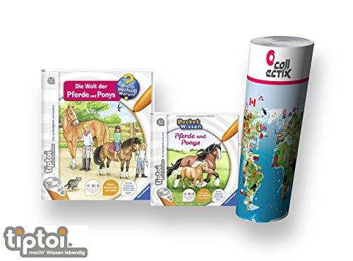 tiptoi Ravensburger Buch Wieso? Weshalb? Warum? 4-7 | Pferde und Ponys + Pocket Wissen - Pferde und Ponys + Kinder Tier-Weltkarte | Reiten, Reitsport