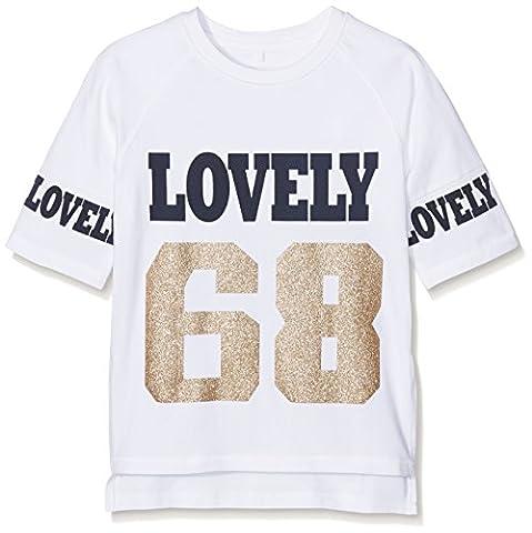 NAME IT Mädchen T-Shirt Nitkara 3/4 Oversize Long Top Nmt Weiß (Bright White), 134