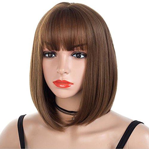 ATAYOU® Art Und Weise Kurze Gerade Synthetische Braune Bob-Perücken Für Frauen Mit 1 Freier Perücke kappe (Braune Perücke Haare Kurze)