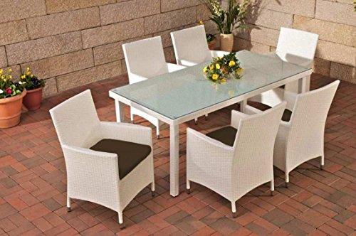 Gartenmöbel, Gartenmöbel-Set, Sitzgarnitur Florenz, terra-braun / weiß, Polyrattan-Aluminium-Gestell, Gartengarnitur, Sitzgruppe