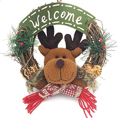 (BALALALA Weihnachtskranz Kleine Rattan Kreis Santa Anhänger Weihnachtsschmuck Platte hängen Ring-Elch)