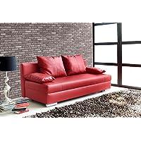 lifestyle4living Schlafsofa in Rot aus Kunstleder   Sofa mit Schlaffunktion und Bettkasten   Pflegeleichte Couch inkl. Rücken- und Armlehnkissen