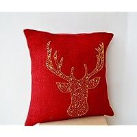 Cervo animali, federa per cuscino in tela rosso con cervo
