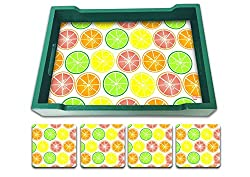 Nutcase Designer Colorful & Quirky Serving Trays With A Set Of 4 Matching Metal Coasters - Diwali Festive Gifts / Gift Ideas- Housewarming Gift - Colorful Lime