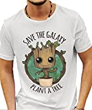'SAVE THE GALAXY PLANT A TREE' GUARDIANS OF THE GALAXY - BABY GROOT WHITE TSHIRT (Large)