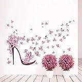 QTZJYLW Kunst Wandaufkleber Rosa Schmetterling High Heels Muster Aufkleber Wohnzimmer Hintergrund Dekoration Wandaufkleber (45 × 60 cm)