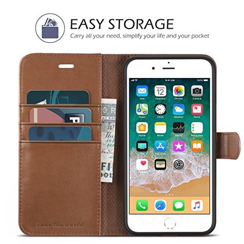 TUCCH Custodia iPhone 8 Plus, Cover iPhone 7 Plus Portafoglio, Custodia in Pelle con Interno TPU Antiurt, [Supporto Stand] [3 Carta Fessura] e Flip Wallet Cover per iPhone 7/8 Plus – Marrone