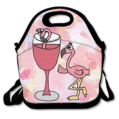 Artsy Funny Pink Flamingo Vogel, Wein zu trinken Wasserdicht Lunch Tasche tragbar Picknick Lunch Box Lunch Tasche