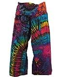 Guru-Shop Thai Fischerhose Batik, Herren/Damen, Blau/bunt, Baumwolle, Size:One Size, Fischerhosen Lange Größe Alternative Bekleidung