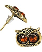 SWT Retro Fashion Stud Earrings (Owl Head Earrings (Brown))