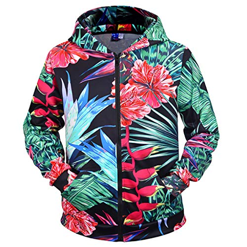 Heißes Link Thema Kostüm - kksun Herren Hoodies Plant Leaves Flower 3D gedruckte Hoodies Zipper Jersey Lässiger Hoodie Outdoor Sweatshirt Herren Tops Plus Size,Green-XL