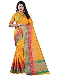 Vatsla Enterprise Women's Banarasi Cotton Silk Saree With Blouse Piece(VSWNRNYELLOW004_YELLOW)