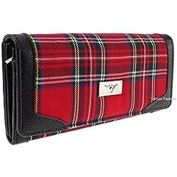 Tipo libro de Royal Stewart traje de neopreno para mujer Monedero rojo de cuadros escoceses TB8000