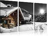 wunderschöne verschneite Alpenhütten schwarz/weiß auf 3-Teiler Leinwandbild 120x80 Bild auf Leinwand, XXL riesige Bilder fertig gerahmt mit Keilrahmen, Kunstdruck auf Wandbild mit Rahmen, gänstiger als Gemälde oder Ölbild, kein Poster oder Plakat