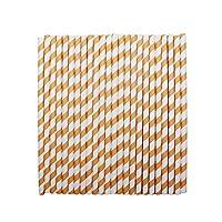 tecmac Eco-Friendly and Disposable White - Orange Stripes Paper Straws | 8 mm | 100 Pieces