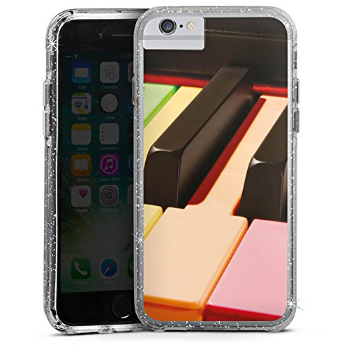 Apple iPhone 8 Bumper Hülle Bumper Case Glitzer Hülle Piano Colours Piano Klavier Bumper Case Glitzer silber