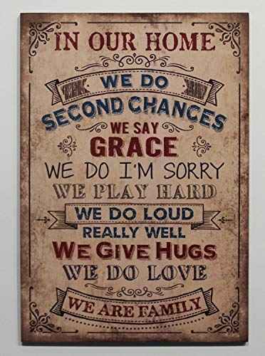 qidushop Holzschild in Our Home We Do Second Chances Tan Primitive Inspirational Geschenk Family Rules Wandschild Schild mit Spruch Kabinendekoration