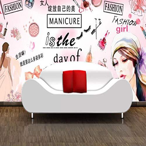 Make-upschönheitshintergrundwand-Schönheitssalon-Nagelkosmetik-Shopwandgewohnheitstapete der dreidimensionalen Tinte 3D 300(L) x200(H) cm