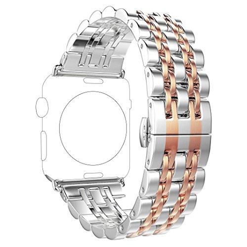 Für Apple Watch Armband 38mm Rose Gold Rosa Schleife Edelstahl Metall Apple iWatch Armband Uhrenarmband Replacement Strap Armbänder mit Metallschließe für Apple Watch Sport & Edition Alle Versionen