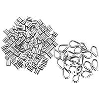 dreamtop 100PCS 1/16Zoll Aluminium Draht Seil Ärmel Clips Aluminium Kabel verarbeitet + 20PCS M2Edelstahl Fingerhut