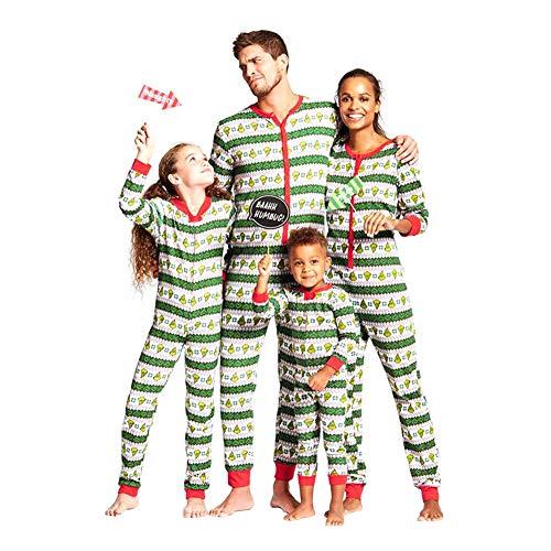 Haodasi Zusammenpassen Weihnachten Schlafanzug Nachtwäsche - Weihnachten Gedruckt Overall Eltern-Kind Ein Stück Nachtwäsche Familie Pyjama