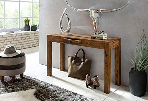 BuyDream Konsolentisch aus Massivholz Sheesham Konsole mit 1 Schublade Schreibtisch 120 x 40 cm Sideboard im Landhaus - Stil