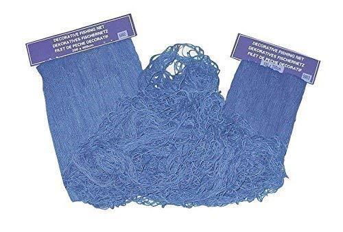 linoows Fischernetz, dekoratives Fischnetz Blau, Baumwoll Netz 200 x 400 cm