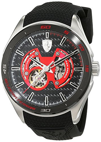 Scuderia Ferrari Mens Automatic Watch, Analogue Classic Display and Silicone Strap 0830348