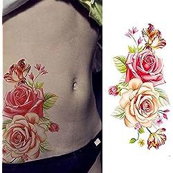 EROSPA® Tattoo-Bogen temporär - Blumen Motiv - Rosen gelb/rot - 9 x 19 cm