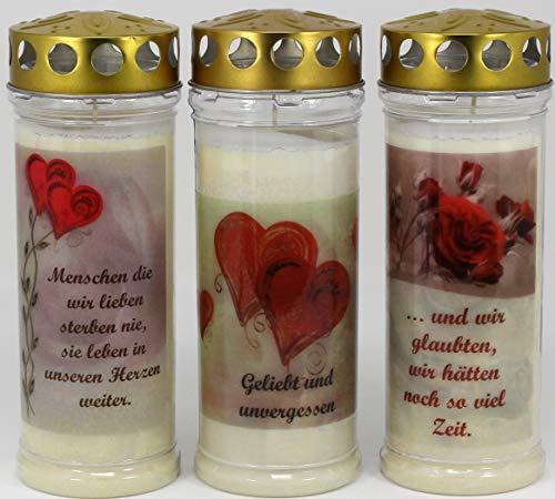 Kerzen Junglas 3 Grablichter, Grabkerzen, 3er Set- 21x7,5 cm - 3862 - ca. 7 Tage Brenndauer je Grablicht - Trauerkerze mit Motiv und Spruch - Motivkerze - Gedenkkerze
