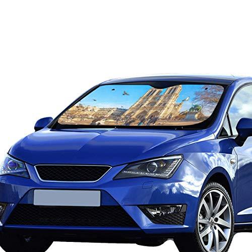 Plosds Funny Car Window Shade Klassische Kirche Notre Dame De Paris Sonnenblende Universal Fit Halten Auto Fahrzeug Cool Reflektor Limousinen Geländewagen LKW 55