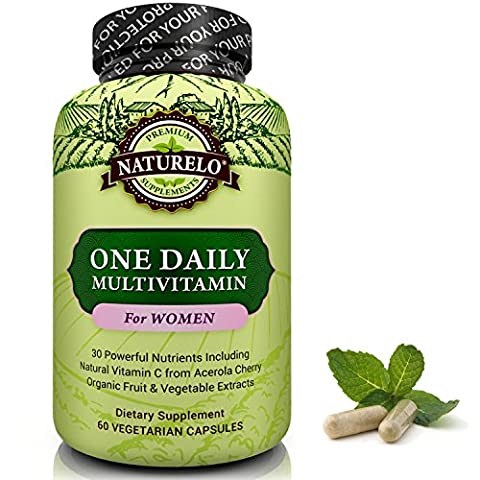 NATURELO One Daily Multivitamin for Women - Best for Hair, Skin & Nails - Natural Energy Support - Once A Day Whole Food Supplement - Non-GMO - No Soy - Gluten Free - 60 Capsules | 2 Month Supply