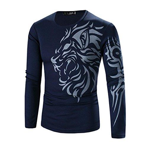 Herren T-shirt,Dasongff Männer Mode Printing Herren Langarm T-Shirt O-Ausschnitt T-Shirts Bluse Tops Tops (3XL, Navy) (Denim-shirt Navy Langarm)
