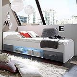 Möbel Akut Bett Colori Kinderzimmer Jugendbett Kinderbett weiß grau 90x200 cm Schubkasten