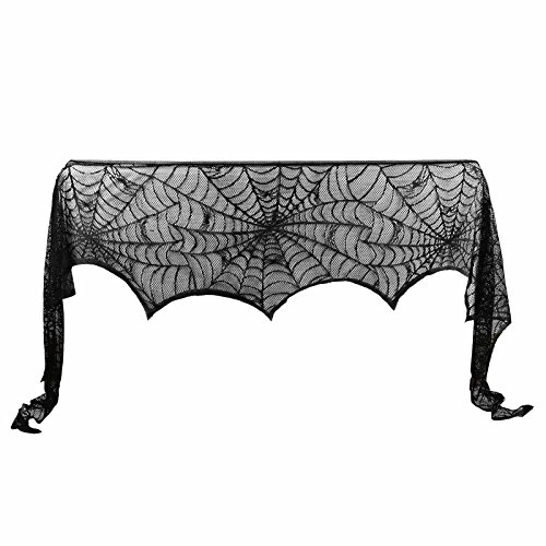 vlovelife 50,8 x 203,2 cm Halloween Kamin Kaminuhr Spider Cobweb Schal Geheimnisvolle Spitze Läufer für Halloween Party Festival Scary Movie Nights 18'' x 96'' Schwarz