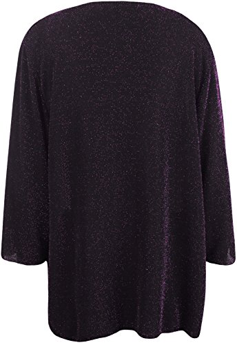WearAll - Grande Taille Womens lurex scintillant 3/4 manches tieup Mesdames Haussement Haut - Femmes - Grande Tailles 40 à 54 Pourpre