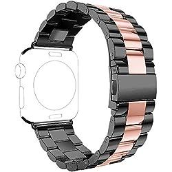 Rosa Schleife Bracelet pour Apple Watch 38mm, Bracelet iWatch 38mm Rose Gold Montre Apple Watch Bracelet Acier Sport Bande Remplacement Straps Metal Fermeture pour Apple Watch Sport/Edition
