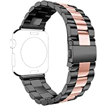 Correas Apple Watch,Correa Apple Watch 38mm Correas iWatch Rosa Schleife® Correa Acero Apple Watch Series 2 Series 1 Banda Pulsera iWatch Reemplazo de Reloj Bracelet Apple Watch 38mm Pulseras de repuesto de hebilla Acero Inoxidable Deporte strap de la Muñeca para actividad iWatch Sport Editon