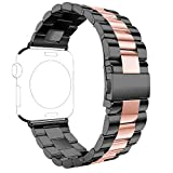 Armband für Apple Watch 38 MM, Rosa Schleife Apple Watch 3 Edelstahl Uhrarmband Ersatzarmband Series 3 Series 2 Series 1 Watch Band mit Schmetterling Schließe für Apple Watch 38mm Schwarz Rose Gold