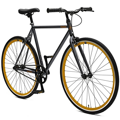 Critical Cycles Harper Fixed Gear Urban Commuter Graphite und Orange Single Speed Bike, Graphite and Orange, 60cm
