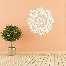 PAOLIAN Etiquetas Engomadas Del Arte De La Etiqueta De La Pared Del Dormitorio Indio De La Flor De La Mandala (B:Blanco)