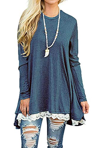 NICIAS Damen Sommer T-Shirt Kurzarm Rundhalsausschnitt Spitze Tunika Tops Lässige Oberteil Bluse Shirt (0-Lange Ärmel-Blau, Medium) (Tragen Ärmel Lange T-shirt)