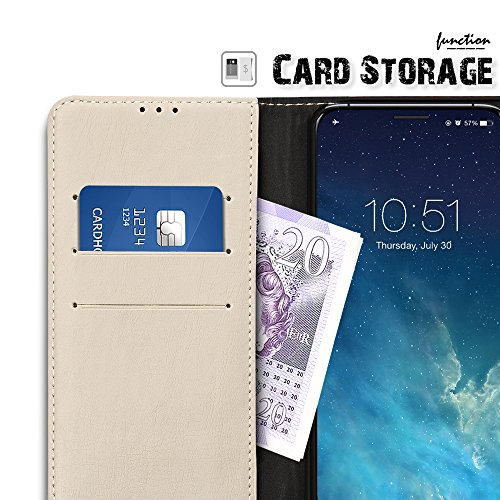 SLEO Coque Pour iPhone X, iPhone 10, Etui Housse Flip Portefeuille PU Cuir Rétro Antichoc Magnétique avec Support Slots de cartes Unique Ultra Slim Case Cover Coque de Protection pour iPhone X, iPhone Beige